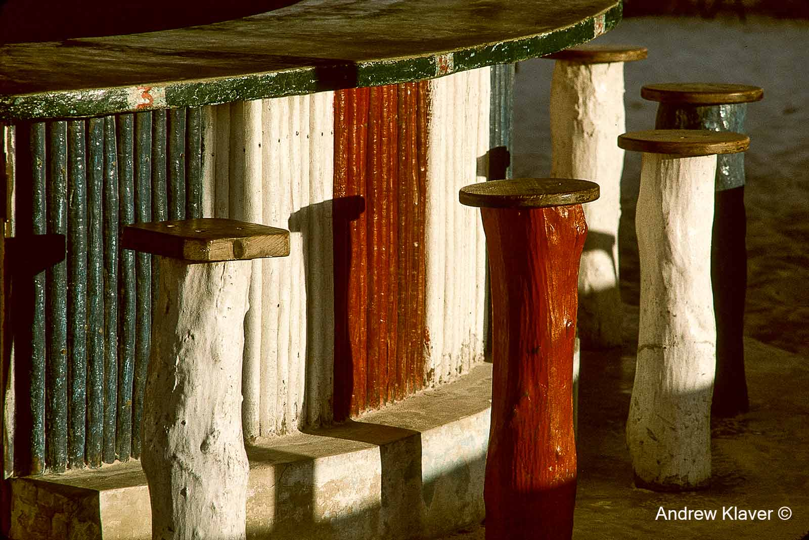 Playa del Carmen, bar stools, 1989
